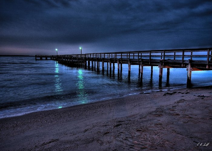 Water Greeting Card featuring the photograph Lights At The End Of The Pier by E R Smith