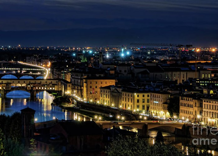 Florence Greeting Card featuring the photograph Lights Of Florence by Nancy Morgantini