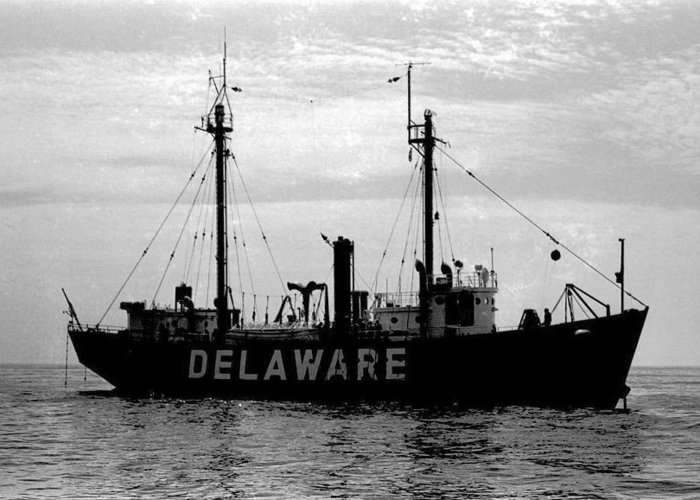 Ship Greeting Card featuring the photograph Lightship Delaware Vintage 1968 by Wayne Higgs