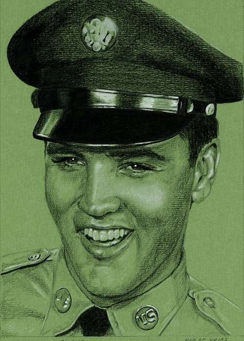 Elvis Greeting Card featuring the drawing Like Any Other Soldier by Rob De Vries