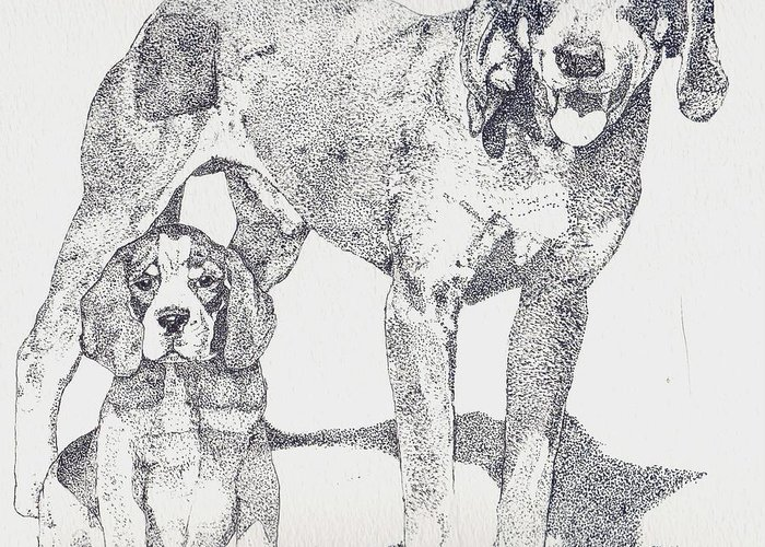Bluetick Coonhound Greeting Card featuring the drawing Like Father Like Son by Debra Sandstrom