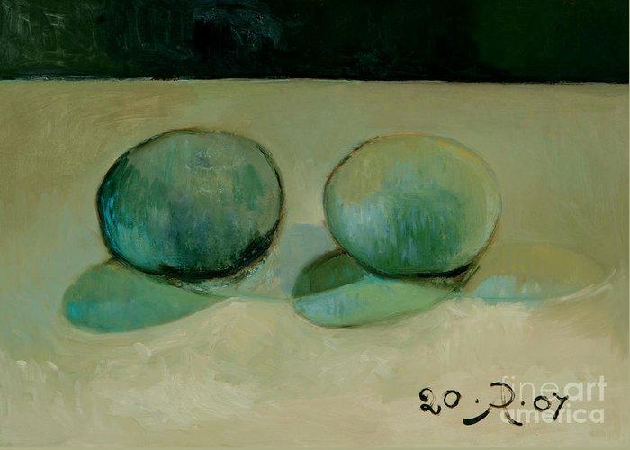 Still-life Reflection Pumpkins Greeting Card featuring the painting Like in the rain by Raimonda Jatkeviciute-Kasparaviciene