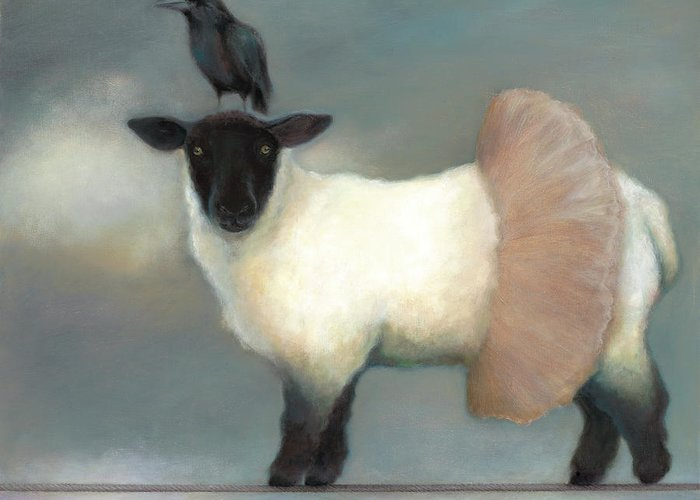 Raven Greeting Card featuring the painting ...like Lambs.. by Katherine DuBose Fuerst
