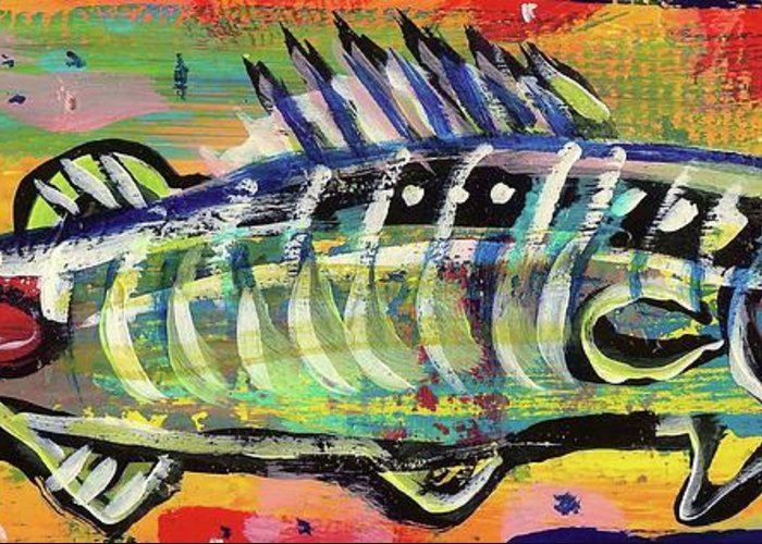 Rwjr Greeting Card featuring the painting Lil' Funky Folk Fish Number Ten by Robert Wolverton Jr