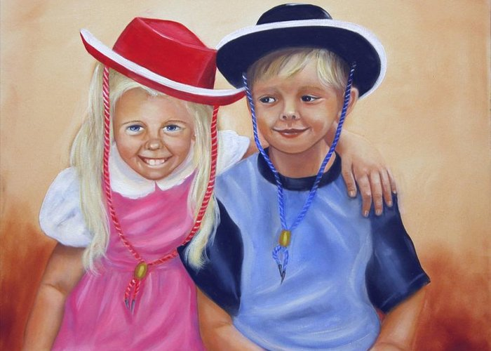 Child Greeting Card featuring the painting Lil Pardners by Joni McPherson