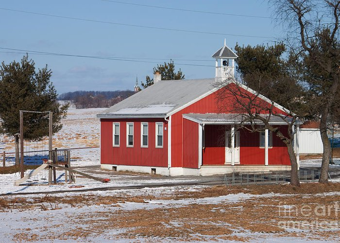 Landscape Greeting Card featuring the photograph Lil Red School House by Robert Sander