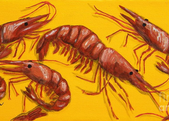 Shrimp Greeting Card featuring the painting Lil Shrimp by JoAnn Wheeler