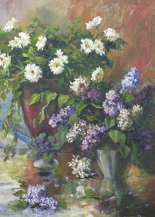Armenian Greeting Card featuring the painting Lilacs And Asters by Tigran Ghulyan