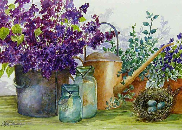 Still Life;lilacs; Ball Jars; Watering Can;bird Nest; Bird Eggs; Greeting Card featuring the painting Lilacs And Ball Jars by Lois Mountz