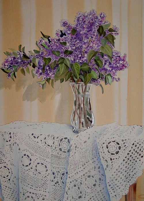 Original Watercolour Of Lilacs And Lace Greeting Card featuring the painting Lilacs And Lace by Sharon Steinhaus
