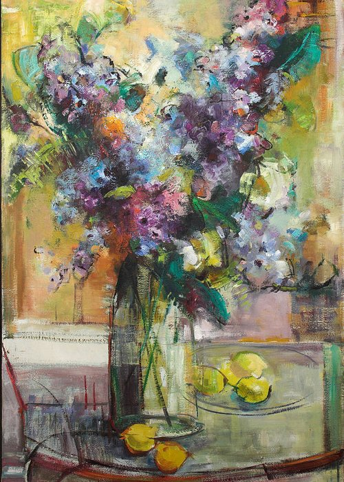 Lilacs Greeting Card featuring the painting Lilacs And Lemons by Blake Originals - Marjorie and Beverly