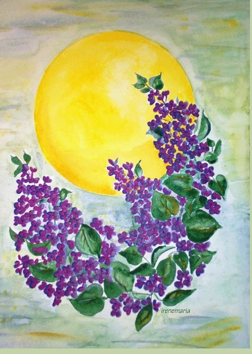Lilacs In June Greeting Card featuring the painting Lilacs In The Midnight Sun by Irenemaria Amoroso