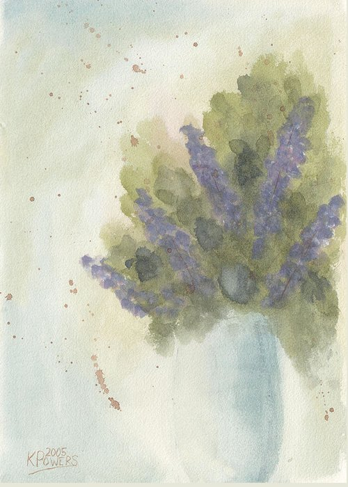 Lilac Greeting Card featuring the painting Lilacs by Ken Powers