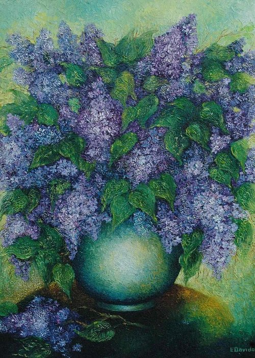 Flowers Greeting Card featuring the painting Lilacs No 2. by Evgenia Davidov