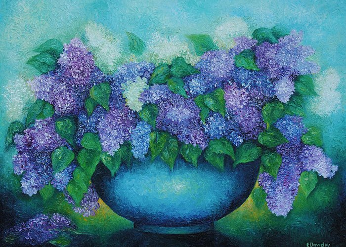 Flowers Greeting Card featuring the painting Lilacs No 3. by Evgenia Davidov