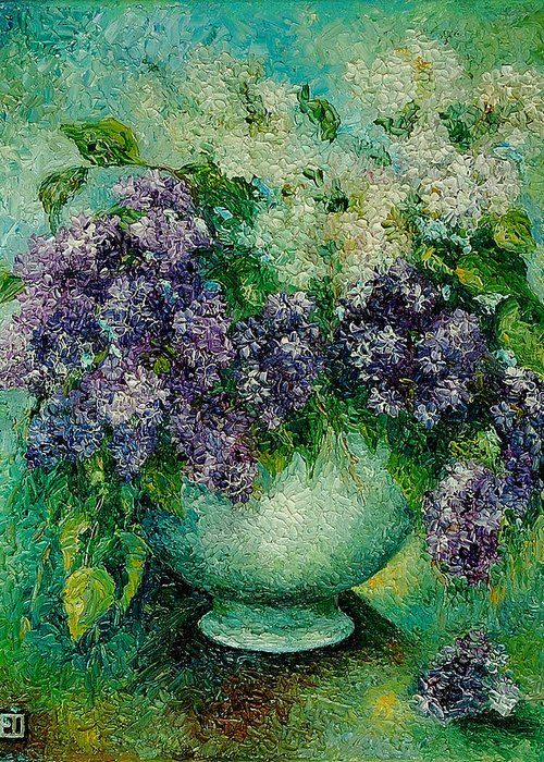 Flowers Greeting Card featuring the painting Lilacs No 4. by Evgenia Davidov