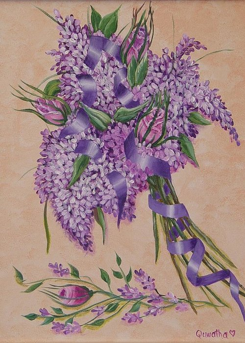 Lilacs Greeting Card featuring the painting Lilacs by Quwatha Valentine