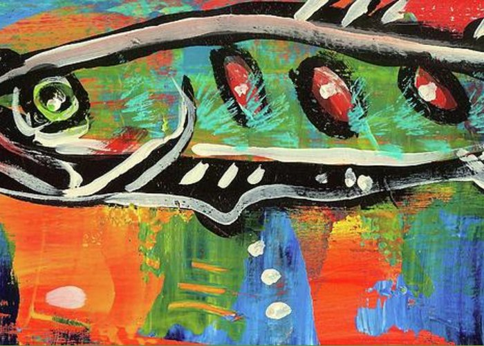 Rwjr Greeting Card featuring the painting Lil'funky Folk Fish Number Fifteen by Robert Wolverton Jr