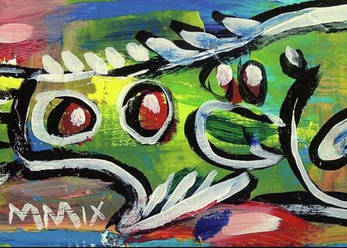 Rwjr Greeting Card featuring the painting Lil'funky Folk Fish Number Thirteen by Robert Wolverton Jr