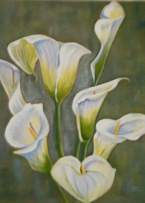 Flowers Greeting Card featuring the painting Lilies by Antoinette Marlow