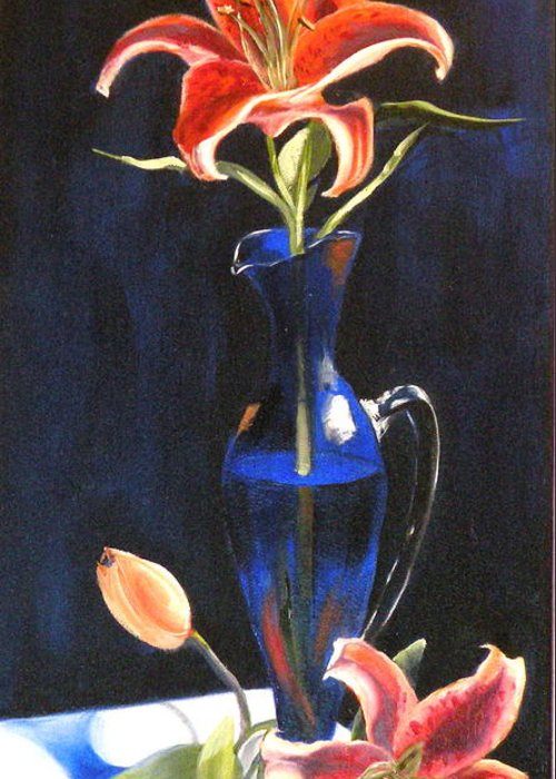 Lilies Greeting Card featuring the painting Lilies In Cobalt by Susan A Becker