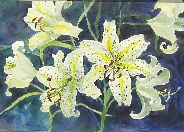 Floral;lilies; Greeting Card featuring the painting Lilies So White by Lois Mountz