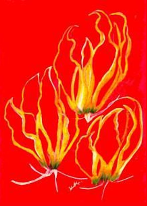 Lilies Plants Florals Greeting Card featuring the mixed media Lilies That Climb IIi by Carliss Mora