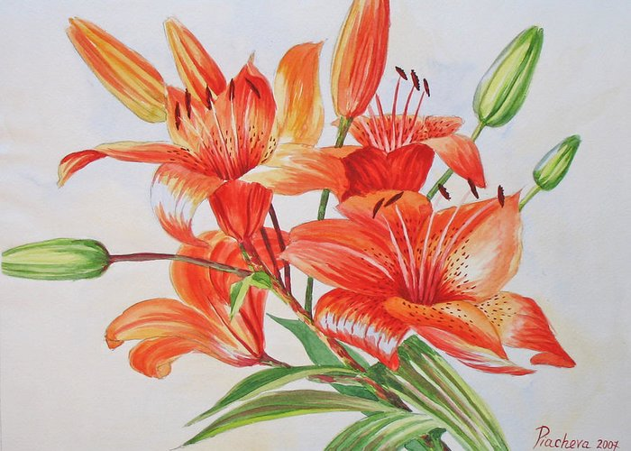 Floral Greeting Card featuring the painting Lilies.2007 by Natalia Piacheva