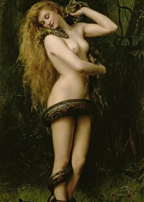 Nude; Female; Snake; Long Hair; Pre-raphaelite; Lilith Greeting Card featuring the painting Lilith by John Collier