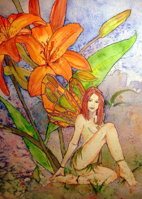 Faerie Greeting Card featuring the painting Lillian Keeper Of Both Wealth And Pride - Watercolor by Donna Hanna