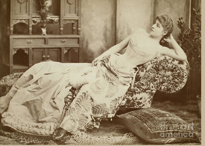 1885 Greeting Card featuring the photograph Lillie Langtry (1852-1929) by Granger