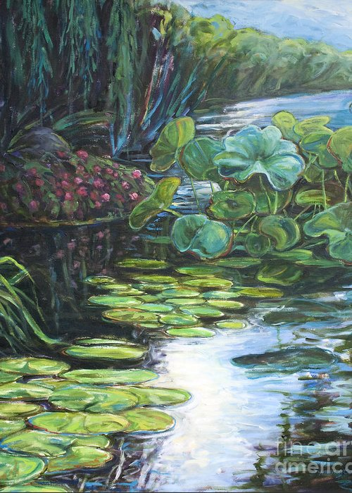 Landscape Greeting Card featuring the painting Lilly Pads by Gary Symington