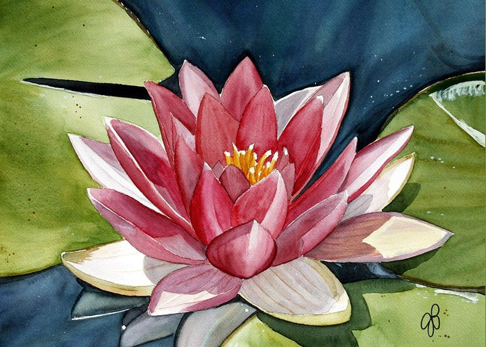 Water Lilly Flower Greeting Card featuring the painting Lilly Pond by Julie Pflanzer