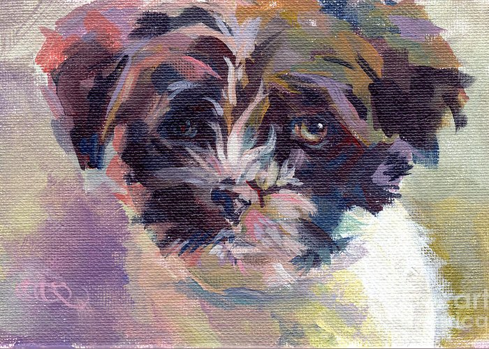 Havanese Greeting Card featuring the painting Lilly Pup by Kimberly Santini