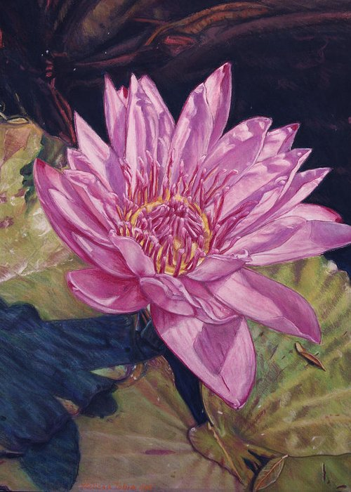 Floral Greeting Card featuring the painting Lily And Her Shadow by Melissa Tobia