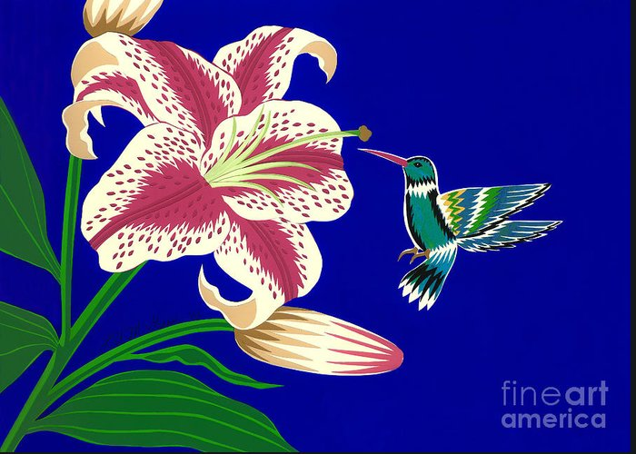 Nature Greeting Card featuring the drawing Lily And Hummingbird by Lucyna A M Green