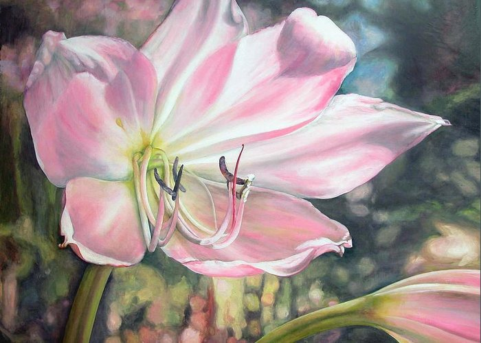 Floral Painting Greeting Card featuring the painting Lily by Muriel Dolemieux