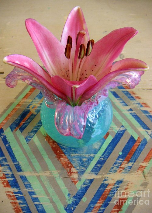 Nature Greeting Card featuring the photograph Lily On A Painted Table Too by Lucyna A M Green