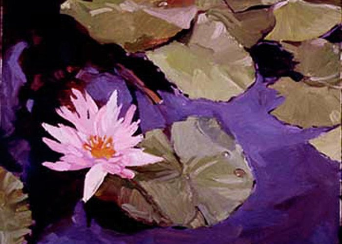 Water Lily Paintings Greeting Card featuring the painting Lily Pad by Betty Jean Billups