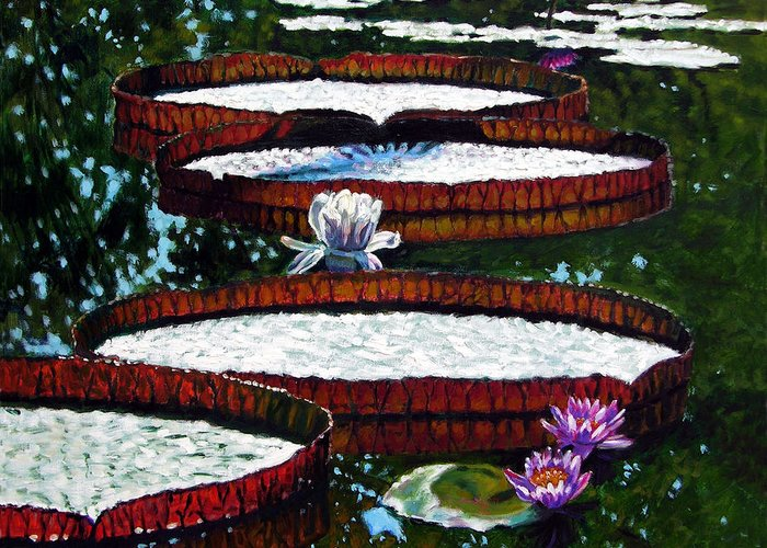Garden Pond Greeting Card featuring the painting Lily Pad Highlights by John Lautermilch
