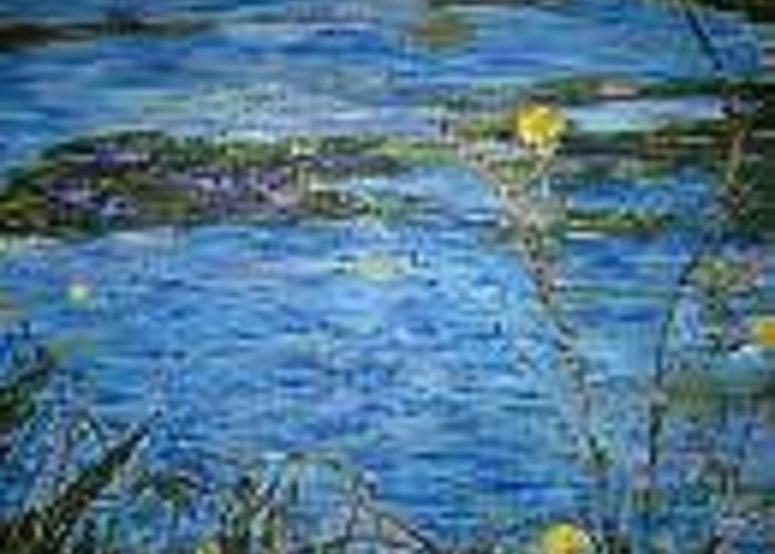 Flowers Greeting Card featuring the painting Lily Pads by Impressionist FineArtist Tucker Demps Collection