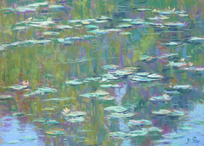 Water Lilies Greeting Card featuring the painting Lily Pond 2 by Michael Camp