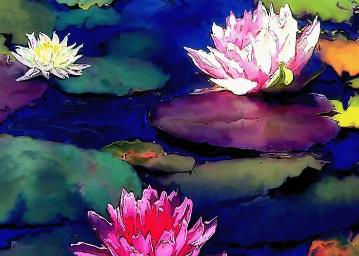 Lily Pond Greeting Card featuring the painting Lily Pond by Amanda Schambon