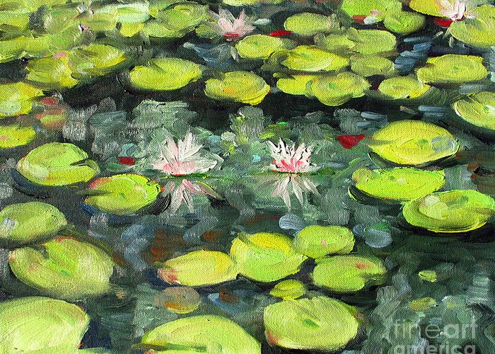 Pond Greeting Card featuring the painting Lily Pond by Paul Walsh