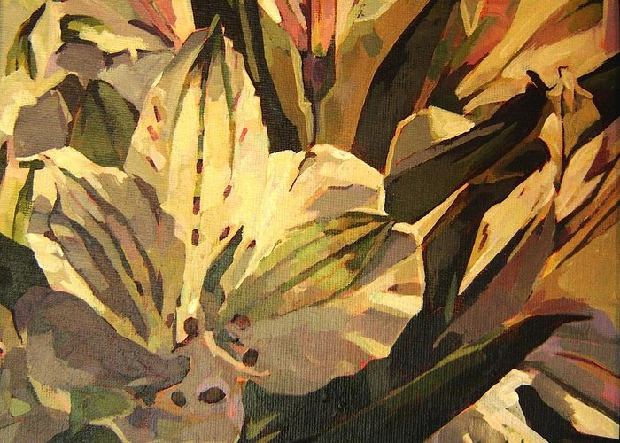 Tim Heimdal Greeting Card featuring the painting Lily White by Tim Heimdal