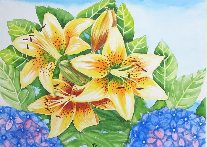 Lillies Greeting Card featuring the painting Lily.2007 by Natalia Piacheva
