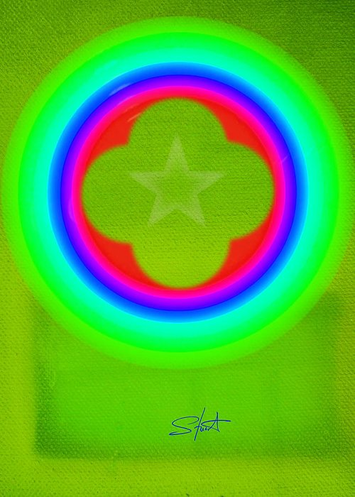 Abstract Greeting Card featuring the painting Lime by Charles Stuart