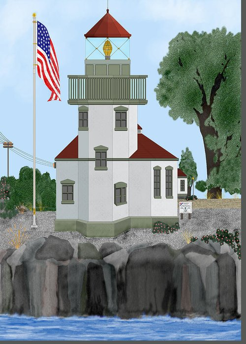 Lighthouses Greeting Card featuring the painting Lime Kiln Light On San Juan Island by Anne Norskog
