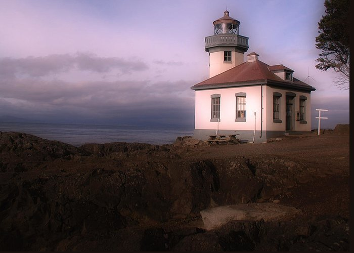 Limekiln Lighthouse Greeting Card featuring the photograph Limekiln Lighthouse With Storm Approaching by Kerry Hartjen