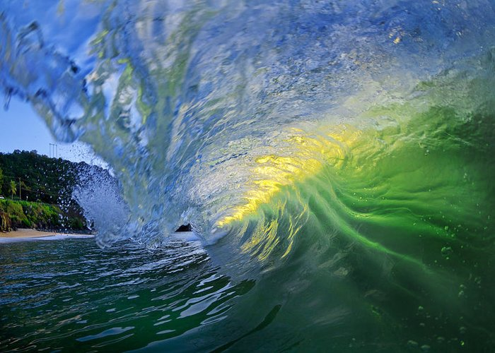 Ocean Wave Greeting Card featuring the photograph Limelight by Sean Davey